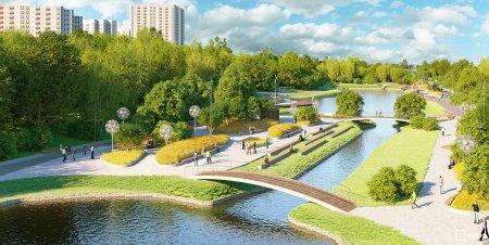 Новыми пешеходными мостиками украсили пойму реки Битца